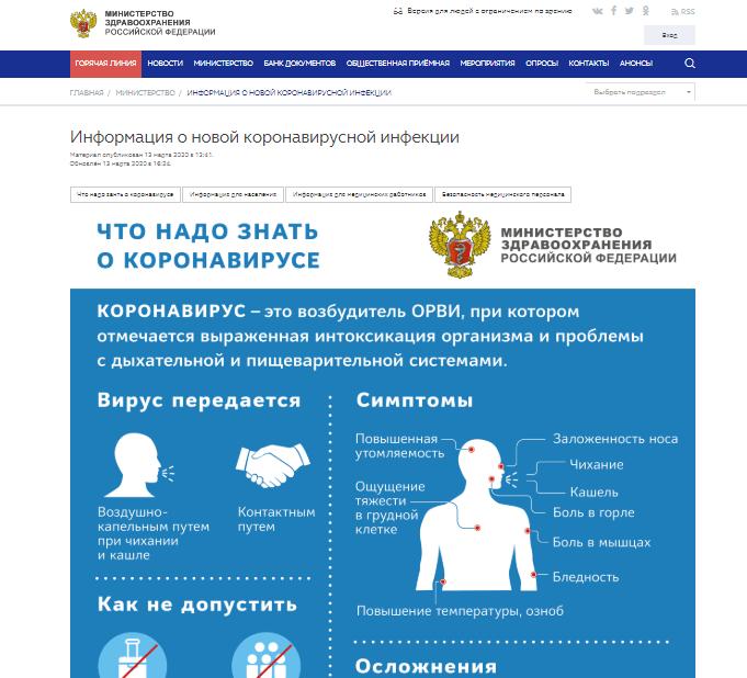 На сайте Минздрава России появилась вкладка о коронавирусе