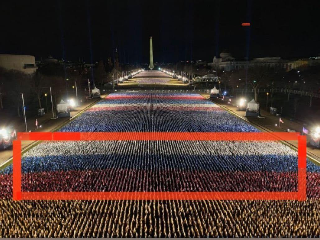 У здания Капитолия в США флаги к инаугурации Байдена образовали гигантский флаг РФ