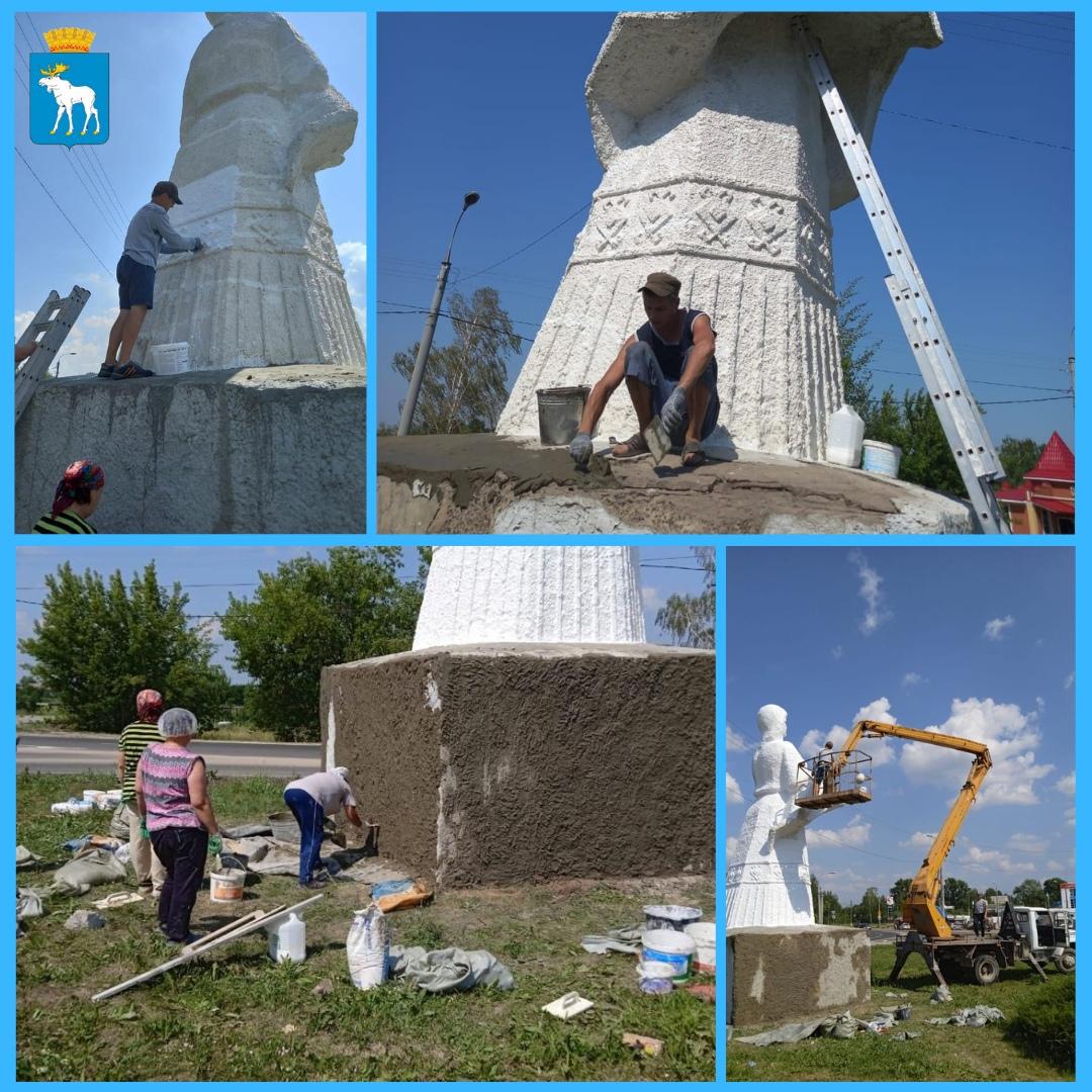 В Йошкар-Оле продолжается ремонт скульптуры «Хлеб-соль»