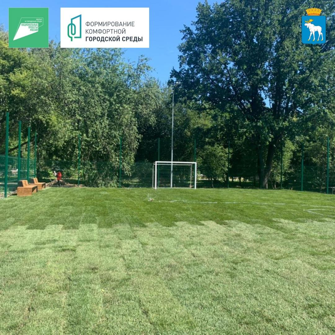 В Центральном парке уложили газон на поле для мини-футбола