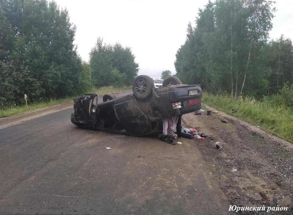 В Марий Эл водитель ВАЗа опрокинулся из-за зайца на дороге