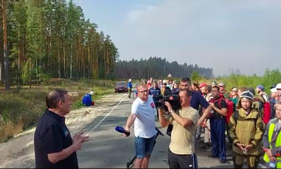 Глава Марий Эл поговорил с волонтерами,приехавшими на тушение лесного пожара