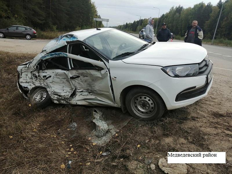 В Марий Эл на трассе «Вятка» при столкновении автомобилей пострадали два человека